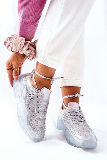 Dámske tenisky farba sivá kód obuvi F11 SILVER