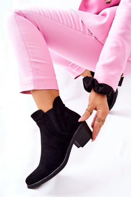 Členkové topánky na podpätku farba čierna kód obuvi BT620 BLK MIC