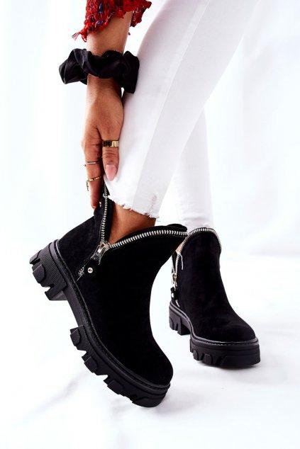 Členkové topánky na podpätku farba čierna kód obuvi 8500 BLK