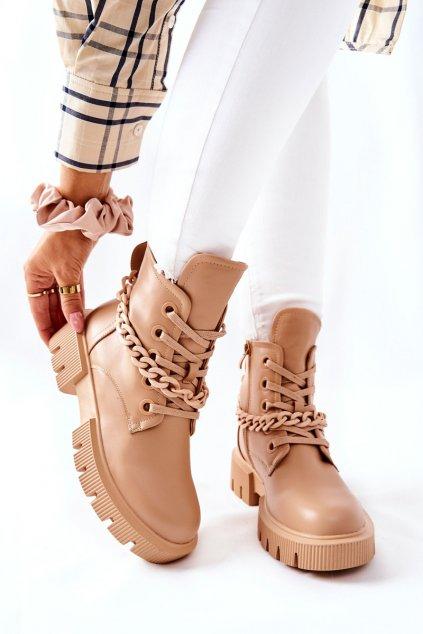 Členkové topánky na podpätku farba hnedá kód obuvi LG144 KHAKI