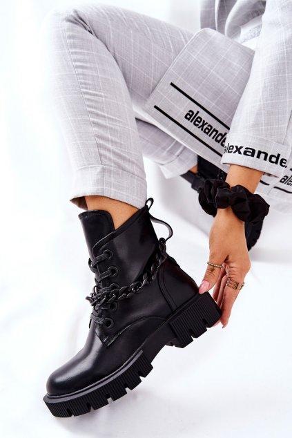Členkové topánky na podpätku farba čierna kód obuvi LG144 BLK