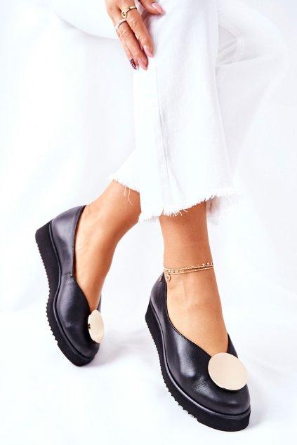 Dámske poltopánky farba čierna kód obuvi 5315B-01 BLK