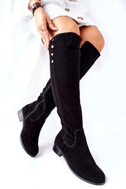 Dámske čižmy farba čierna kód obuvi 2840 BLK