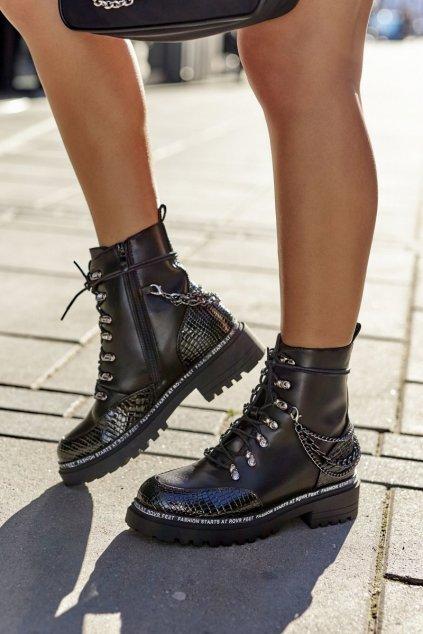 Členkové topánky na podpätku farba čierna kód obuvi 60-8 BLK