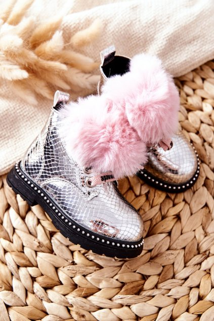 Detské členkové topánky farba ružová kód obuvi NQ236/237 SILVER