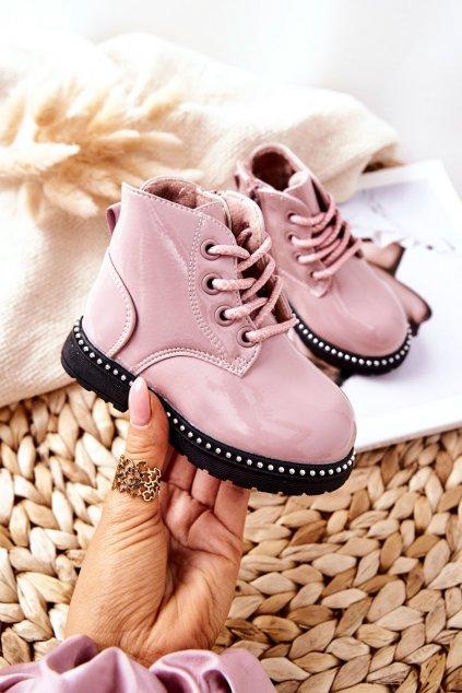 Detské členkové topánky farba ružová kód obuvi NQ68/69 PINK