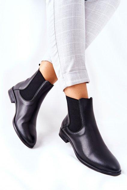 Členkové topánky na podpätku farba čierna kód obuvi BT523 BLK PU