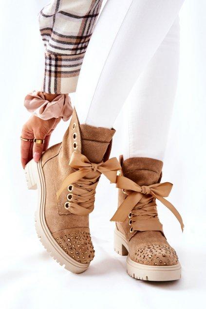 Členkové topánky na podpätku farba hnedá kód obuvi 3069 PIAS/WEL