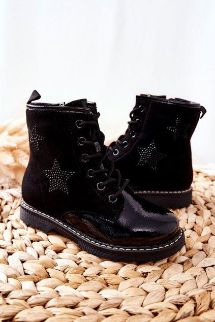 Detské členkové topánky farba čierna kód obuvi 22-16266 BLK