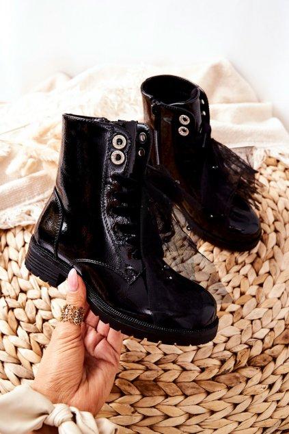 Detské členkové topánky farba čierna kód obuvi 39-2D BLK