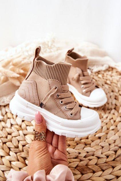 Detské tenisky farba hnedá kód obuvi 825-B KHAKI