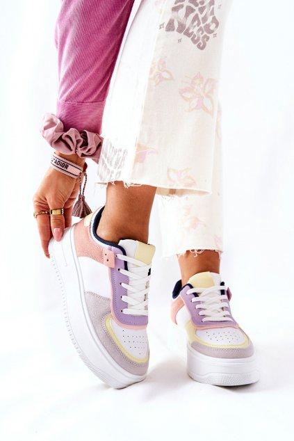 Dámske tenisky farba biela kód obuvi B0-807 WHITE/YELLOW