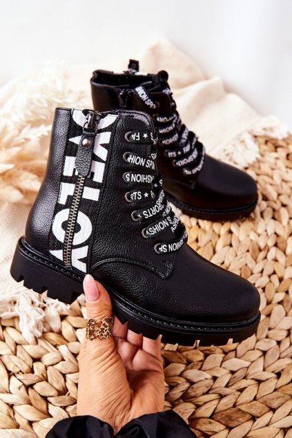 Detské členkové topánky farba čierna kód obuvi 22-16258 BLK