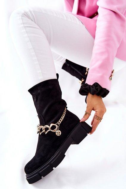 Členkové topánky na podpätku farba čierna kód obuvi HB-125 BLK