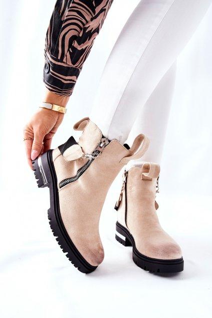 Členkové topánky na podpätku farba hnedá kód obuvi NC1159 BEIGE