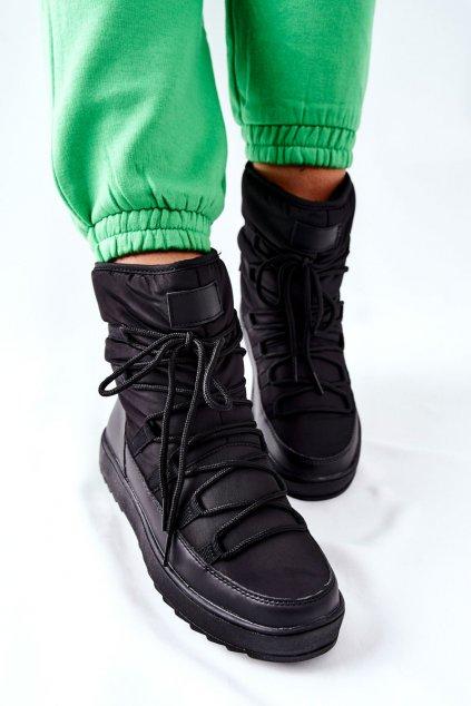 Dámske snehule farba čierna kód obuvi WB-3990A BLK