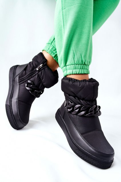 Dámske snehule farba čierna kód obuvi WB-3558 BLK