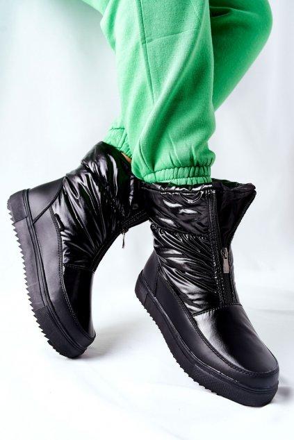 Dámske snehule farba čierna kód obuvi WB-4349A BLK