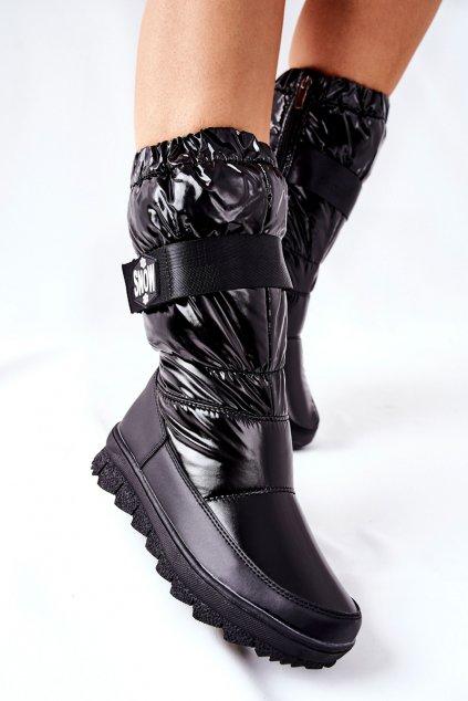 Dámske snehule farba čierna kód obuvi WB-4296 BLK