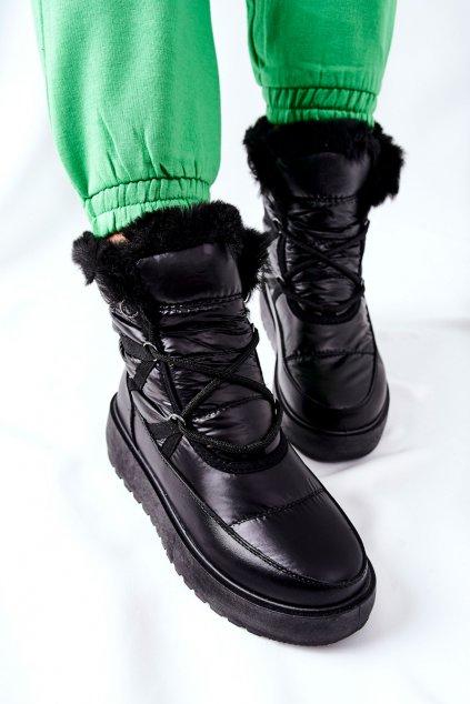 Dámske snehule farba čierna kód obuvi HY02 BLK