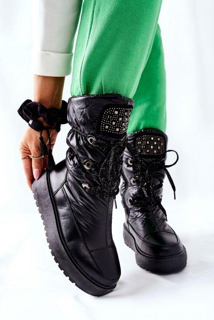 Dámske snehule farba čierna kód obuvi HY03 BLK