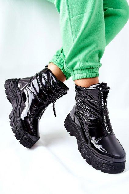 Členkové topánky na podpätku farba čierna kód obuvi 22-34519 BLK