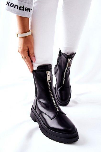 Členkové topánky na podpätku farba čierna kód obuvi 22-16294 BLK