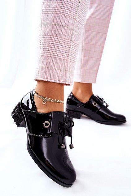 Dámske poltopánky farba čierna kód obuvi PB260 BLK LAK
