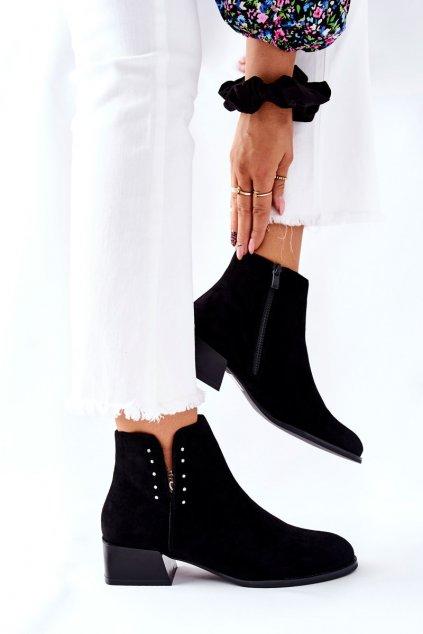 Členkové topánky na podpätku farba čierna kód obuvi BT217 BLK MIC