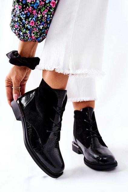 Členkové topánky na podpätku farba čierna kód obuvi BT401 BLK