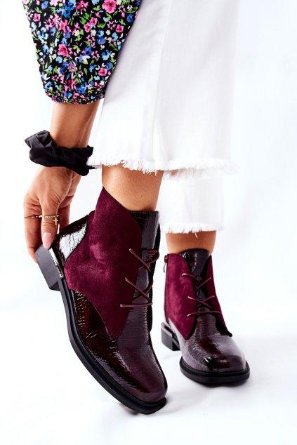 Členkové topánky na podpätku farba červená kód obuvi BT401 BORDO