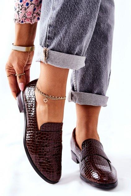 Dámske poltopánky farba hnedá kód obuvi 22-10674 BR