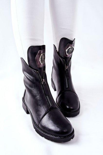 Členkové topánky na podpätku farba čierna kód obuvi 21-12013BK