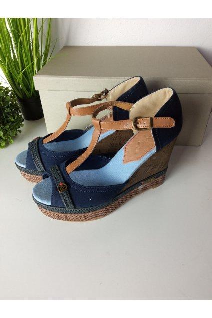 Dámske modré sandále na platforme NJSK HHS015A-1N
