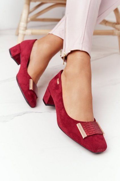 Dámske poltopánky farba červená kód obuvi PB142 BORDO MIC