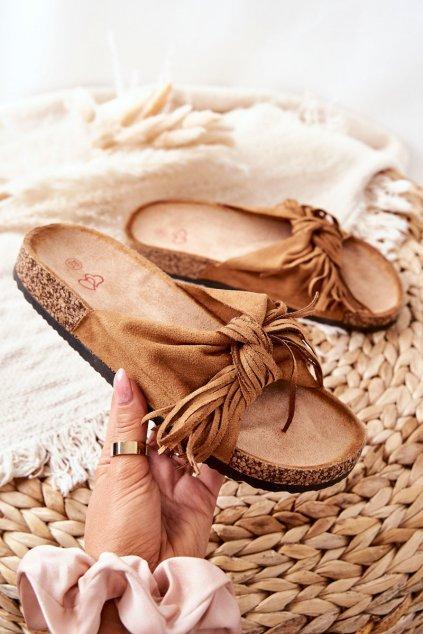 Dámske šľapky farba hnedá kód obuvi 202-93 CAMEL