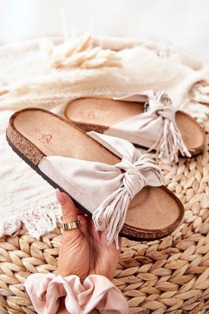 Dámske šľapky farba hnedá kód obuvi 202-93 BEIGE