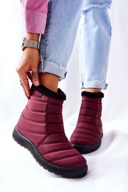 Dámske snehule farba červená kód obuvi 9SN26-1467 BURG