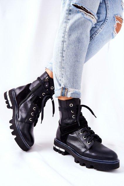Členkové topánky na podpätku farba čierna kód obuvi 05219-01/00-3 BLK