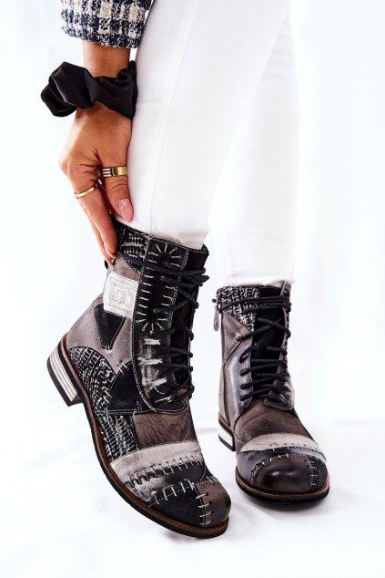 Členkové topánky na podpätku farba čierna kód obuvi 05095-03 POPIEL