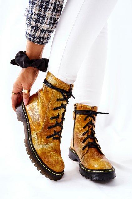 Členkové topánky na podpätku farba žltá kód obuvi 01609-47 ŻÓŁTY