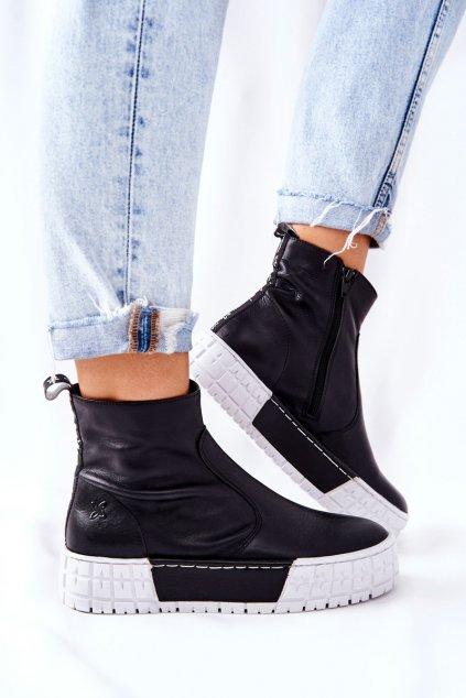 Členkové topánky na podpätku farba čierna kód obuvi 05216-01 BLK