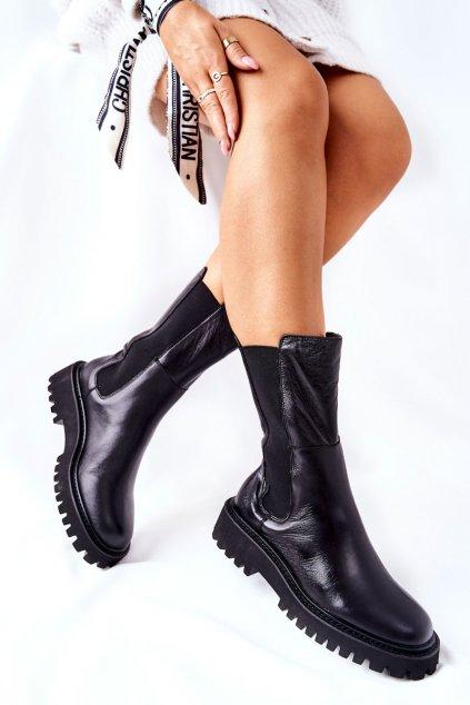Členkové topánky na podpätku farba čierna kód obuvi II274416 906 BLK