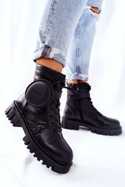 Členkové topánky na podpätku farba čierna kód obuvi II274430 BLK