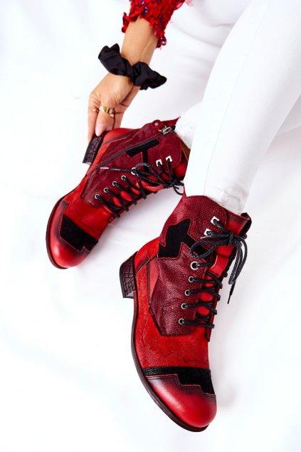 Členkové topánky na podpätku farba čierna kód obuvi 04625-08 RED