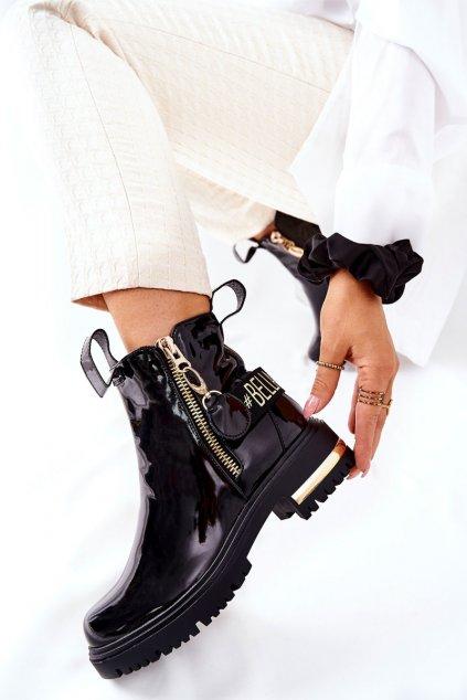 Členkové topánky na podpätku farba čierna kód obuvi A7800E BLK
