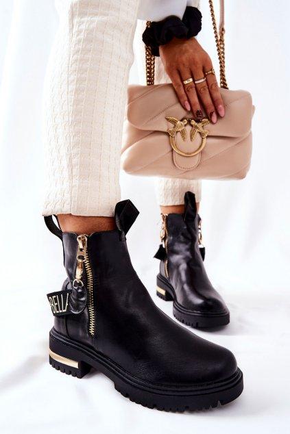 Členkové topánky na podpätku farba čierna kód obuvi A7800 BLK