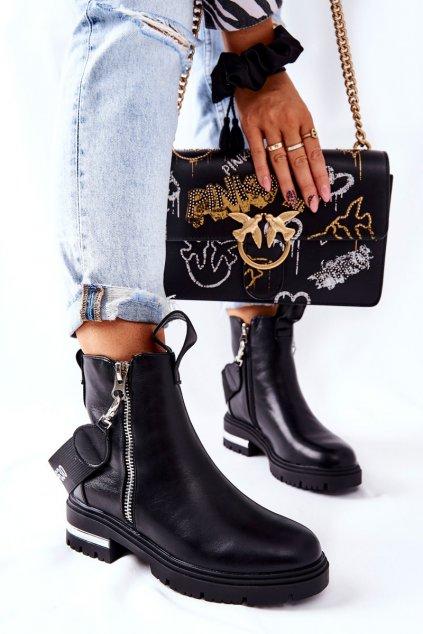 Členkové topánky na podpätku farba čierna kód obuvi NC1160 BLK