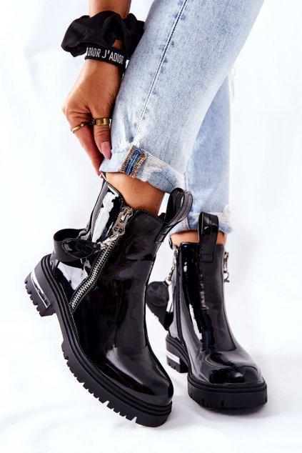 Členkové topánky na podpätku farba čierna kód obuvi NC1161 BLK