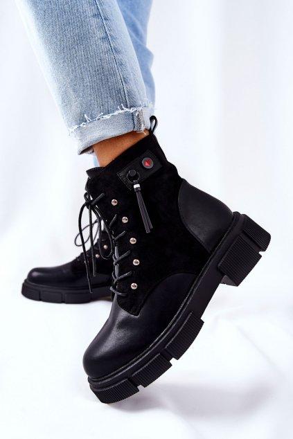 Členkové topánky na podpätku farba čierna kód obuvi 21-11021BK
